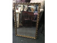 Chic Large Heavy Ornate Gilt Carved Framed Rectangular Mirror