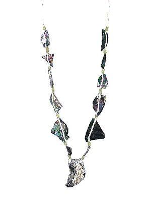 (BUTW Antique Iridescent 1st Century Roman Glass Bead Pendant Necklace 6853K)