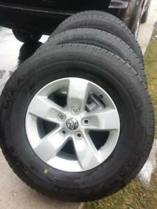 BRAND NEW TAKE OFF 2017 DODGE RAM 17 INCH WHEELS  WITH HIGH PERFORMANCE GOODYEAR WRANGLER 265 / 70 / 17ALL SEASON TIRES