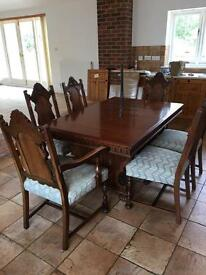 Gothic style extending dining table & 6 Chairs