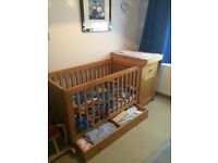 Mothercare 4 piece wooden cot set