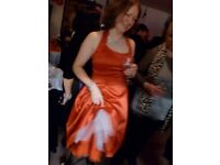 BEAUTIFULSCARLET RED SATIN HALTER NECK PARTY DRESS WITH NET PETTYCOATS SIZE 12