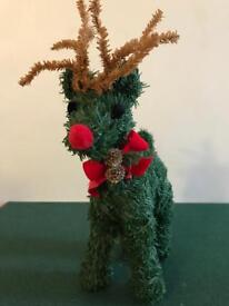 Christmas green tinsel reindeer figure