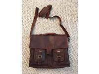 Retro vintage Handmade real goat leather satchel bag briefcase, as new condition.