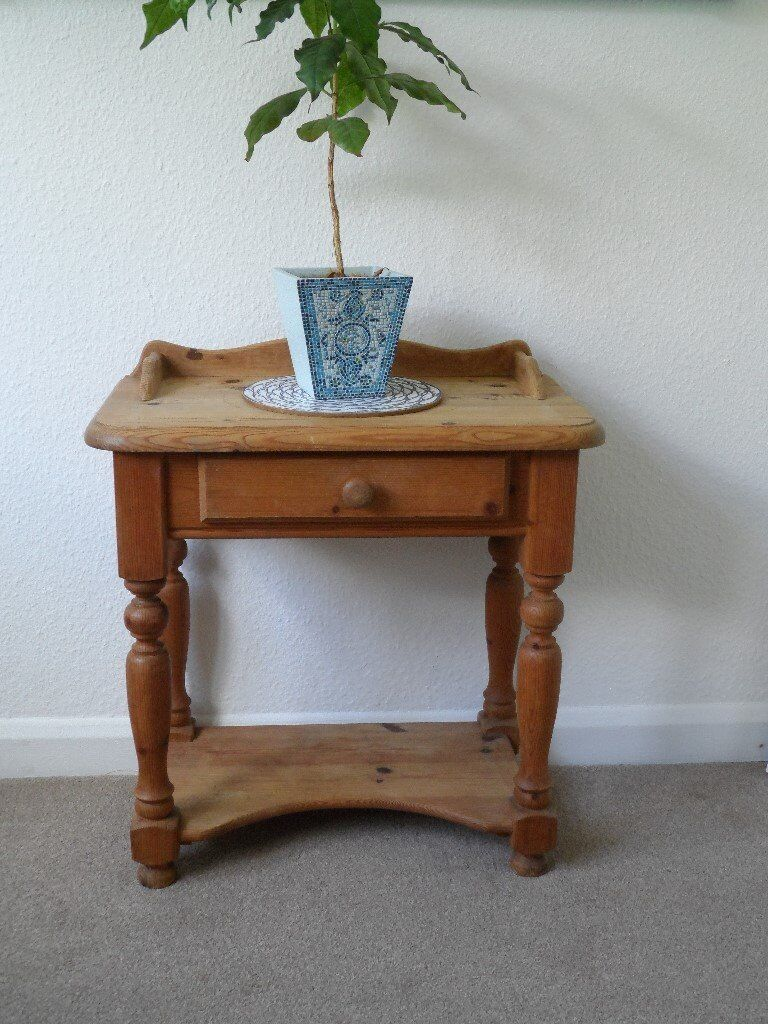 Small Pine Side Table With Draw