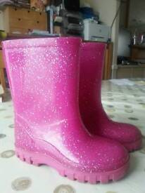 Pink glittering wellies boots kids size 6