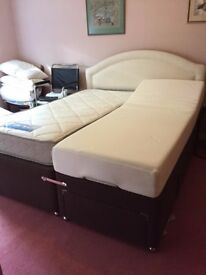 Unique Split Kingsize Bed ( 1 x Sgl Electronic Tempur Bed & 1 x Sgl Sprung Mattress) King Headboard