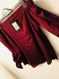 New look burgundy off the shoulder satin top