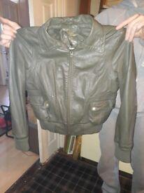 Dark green womens leather jacket