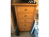 John Lewis- Oak 5 drawer chest of drawers