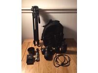 Nikon d3200 with 3 lens, 64GB SD Card, Camera Bag, Tripod and extra accessories