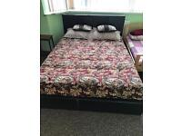 leather faux bed frame king size
