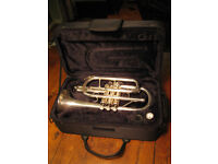 Silver plated cornet, Sebastian Buckley, with case and mouthpiece.