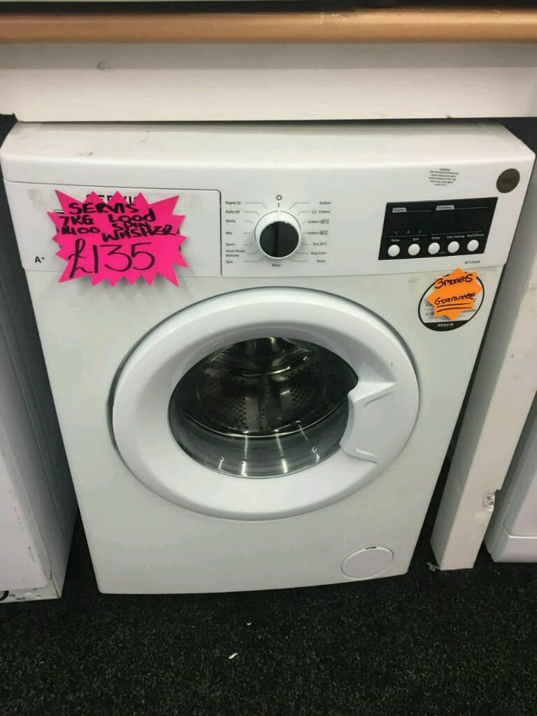 SERVIS 7KG 1400 SPIN WASHING MACHINE IN WHITE
