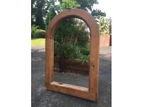 Solid wood framed mirror, iron hook.