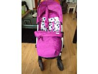 Mama's and Papa's raspberry Luna pushchair with footmuff, raincover, parasol and seat insert.