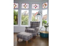 Grey Checked NEXT Sherlock Wing Back Armchair & Footstool