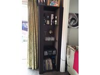 Brown leather display cabinets (2) with glass shelves ( will sell pair or individual)