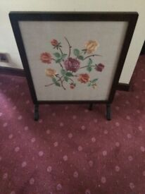 Vintage Logan Mahogany with screen/table/ with glass top over floral motif