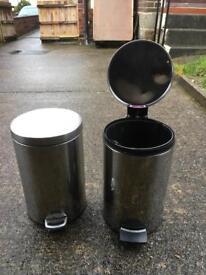 2 x 12 litre pedal bin for sale