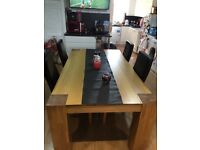 Oak dining table and 4 chairs for sale