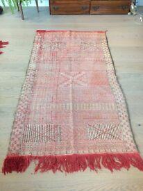 Original Hand Made Antique Moroccan Carpet Kilim Rug - Medium