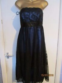 MONSOON BEAUTIFUL BLUE STRAPLESS DRESS WITH LACE OVER THE TOP SIZE 12