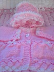 Hand knitted baby's matinee set first size