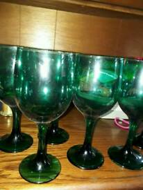 Vintage green wine glasses