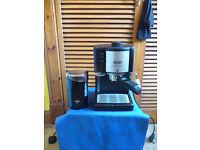 DELONGHI CAFE TREVISO CAPPUCCINO ESPRESSO MACHINE & KRUPS 75 COFFEE BEAN GRINDER