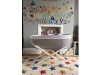 Moba Moses Basket - in Excellent Condition. Dove grey colour.