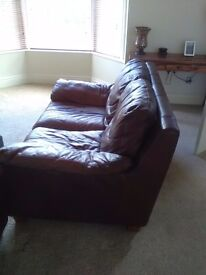 Bargain give away price of £30..brown 2 seater leather sofa!!!!