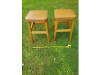 Two wooden stools.