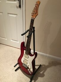 Samick Electric Guitar (fender style) with stand and case