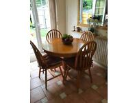 Solid Antique Pine extending table with 6 chairs