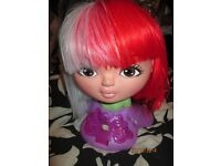 RED AND WHITE HALF AND HALF ENGLAND FANCY DRESS BOB WIG GREAT FOR PARTY OR HEN DO