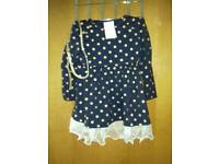 Pretty Dress £15. Navy with Gold spots and belt. 120cm size. Wrong size bought, hence sale.