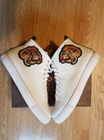 Gucci Tiger Embroidery High Top Sneakers (White)