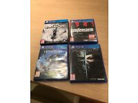 4 PS4 games good condition.For honor,horizon zero dawn,dishonored 2,Wolfstein new order.CAN DELIVER