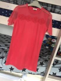 River island pink dress 9/10 years