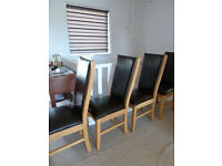 4 x Oak and Leather Dining Chairs
