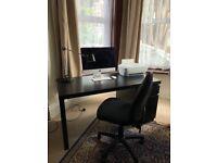 IKEA Malm black 140x65cm desk office and chair