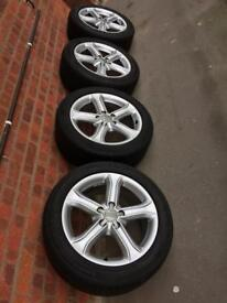 4 X ALLOY WHEELS AUDI A4 SIZE 225/50R 17 94Y 5X112 IN EXCELLENT CONDITION