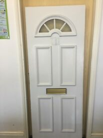 ARCHED UPVC FRONT DOOR PANEL MOULDED REINFORCED INFILL PVC WHITE WITH LETTER BOX