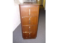 Art Deco Filling Cabinet 4 drawers Solid wood and Veneers Vintage and collectable