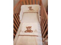 Mothercare cot and mattress with cit bumper and blanket