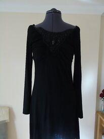 Feelgood Paris designer long sleeve black dress, size 2 (8/10)