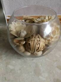 Balls of decorative potpourri (glass bowl not included)