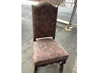 Antique upholstered, wooden chairs