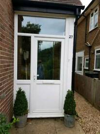 upvc front porch with door.